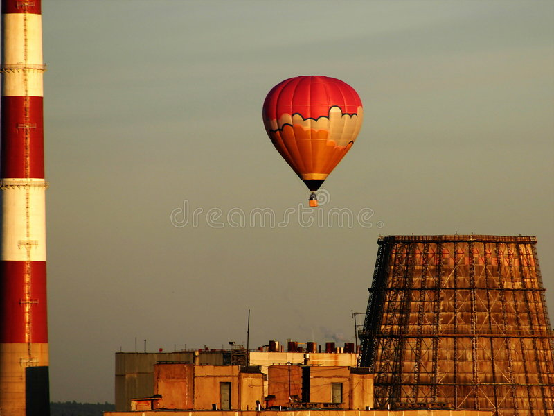 Download Hot-air Balloon Over The Factory Stock Image - Image: 24471