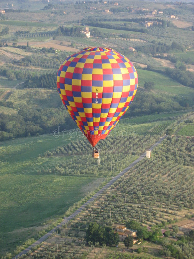 Hot Air Balloon over Italy stock images