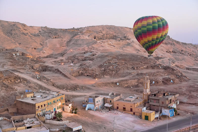 Hot air balloon over Luxor. Egypt royalty free stock photography