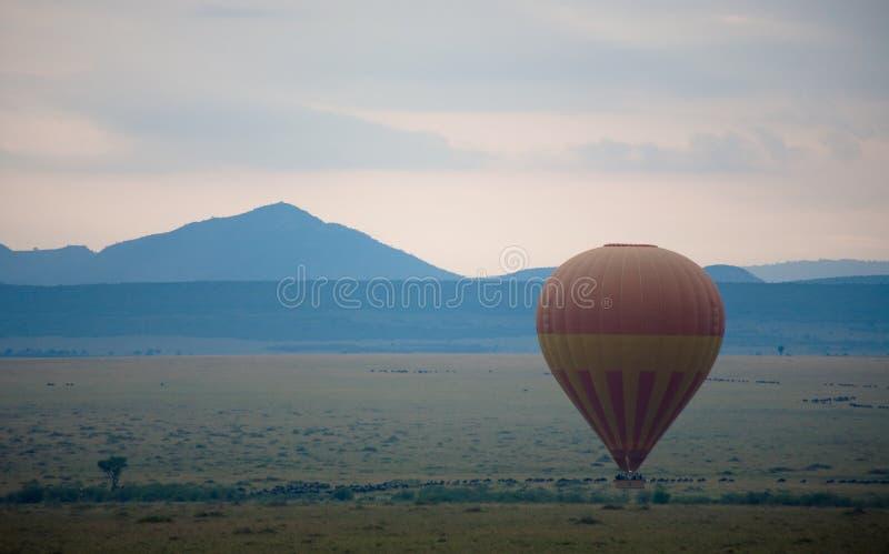 Hot Air Balloon over Masai Mara royalty free stock photo