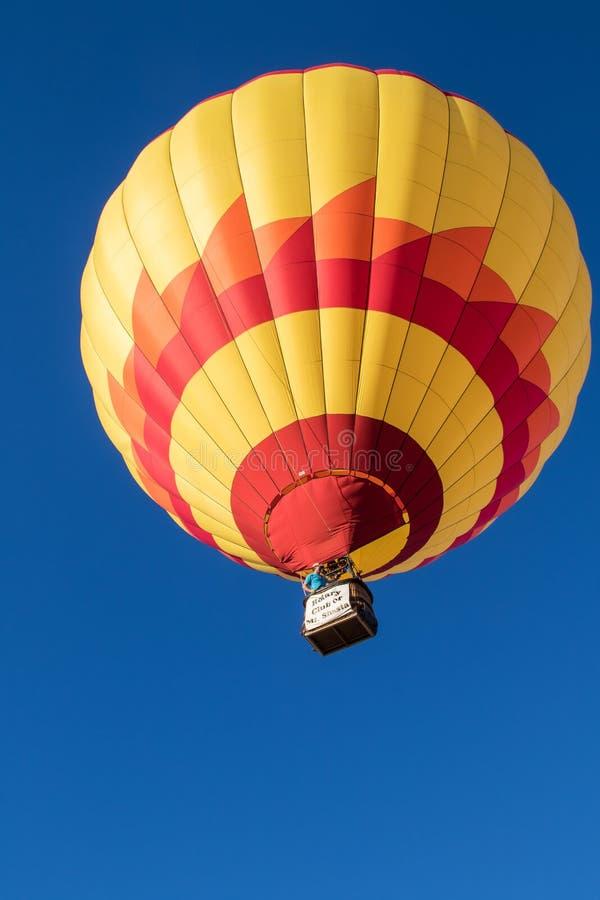 Hot Air Balloon Over Montague. A hot air balloon at the Montague Hot Air Balloon Fair in northern California stock photos