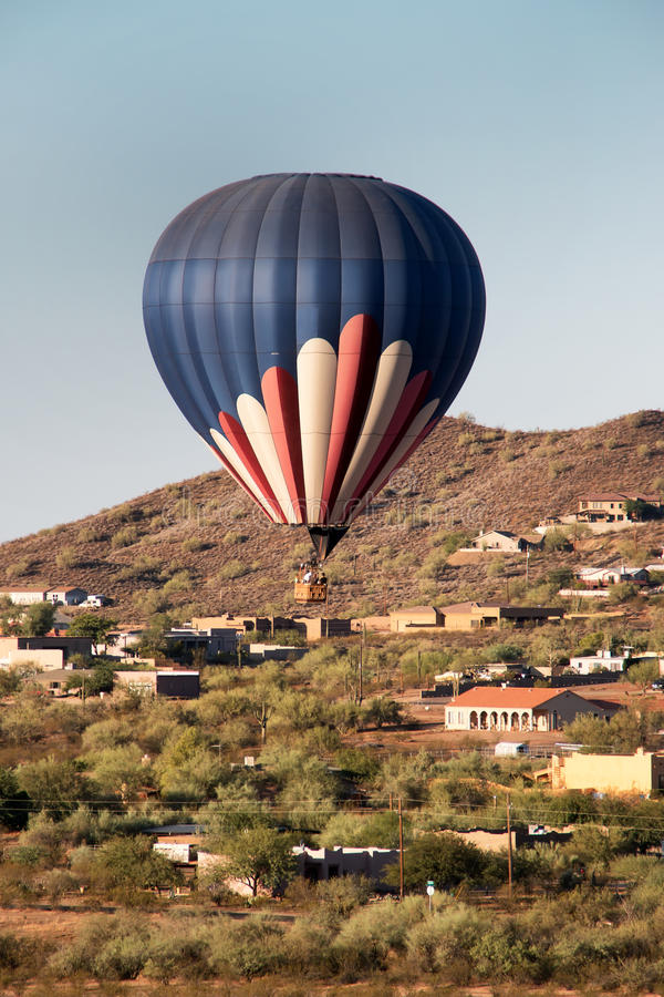 Hot Air Balloon Over North Phoenix Desert royalty free stock images