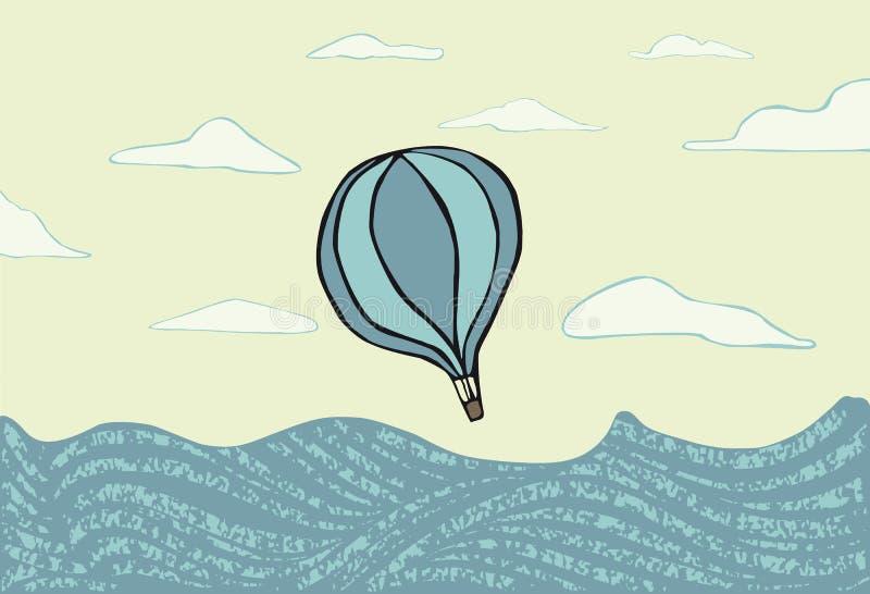 Hot air balloon over the se stock photos