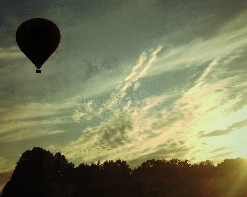 Hot air balloon over stockholm royalty free stock photos