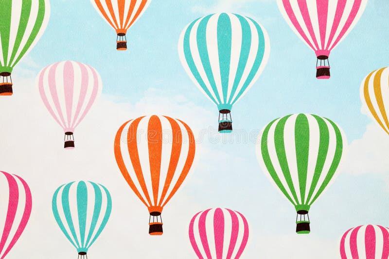 Hot air balloon pattern paper. Close up of hot air balloon pattern paper stock photo