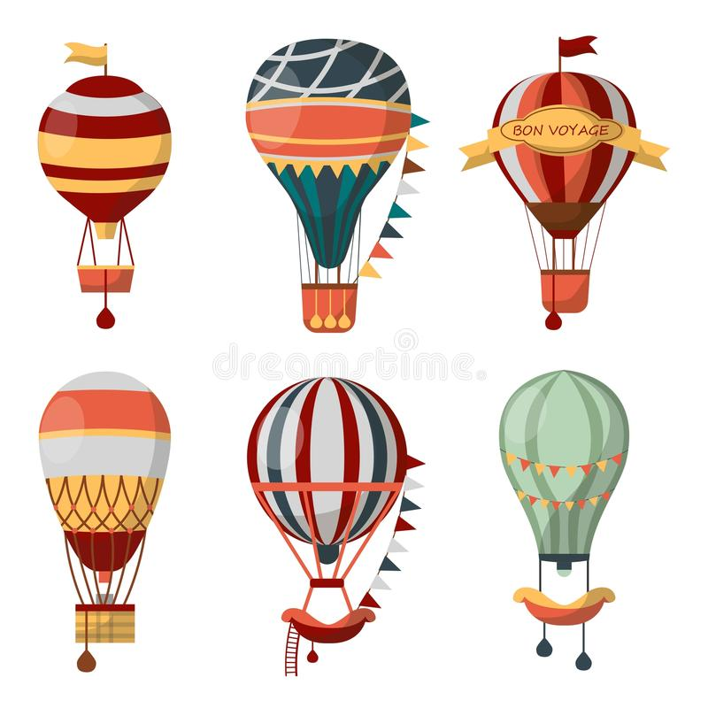 Hot air balloon retro vector icons bon voyage balloons festival cloudhopper. Hot air balloon retro icons with pattern for Bon Voyage or open air balloon festival stock illustration
