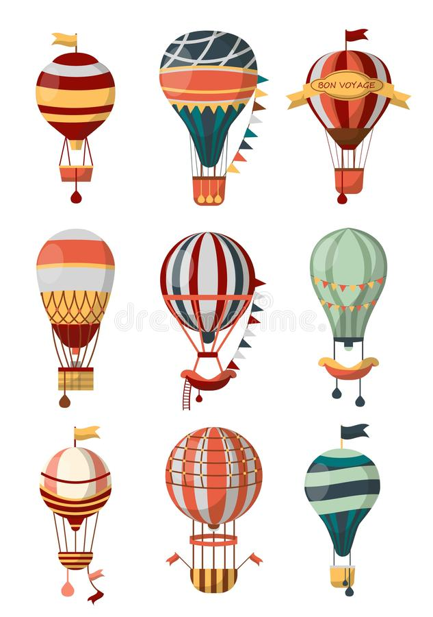 Hot air balloon retro icons with pattern, gondola and flags for Bon Voyage or open air balloon festival. Vector isolated symbols of balloon cloudhopper for royalty free illustration