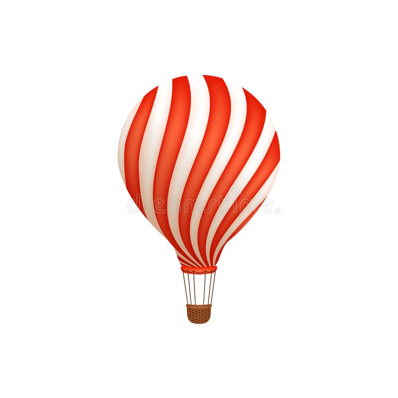 Hot air balloon ride in amusement park, flat icon royalty free illustration