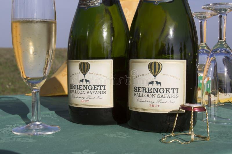 Hot air balloon safari champagne bottle royalty free stock image