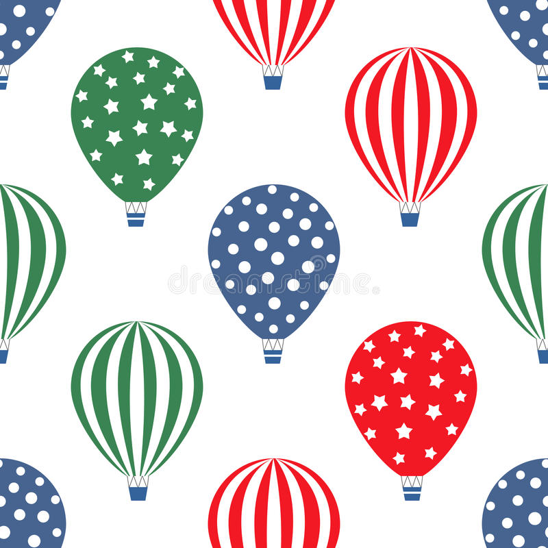Hot air balloon seamless pattern. Bright colors hot air balloons design. Baby shower vector illustrations isolated on white background. Polka dots and stripes stock illustration