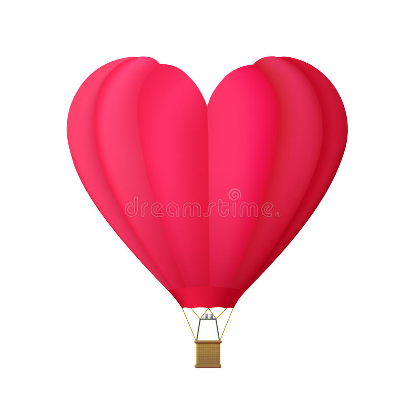 Hot air balloon in the shape of heart isolated on white backgrou. Nd vector illustration