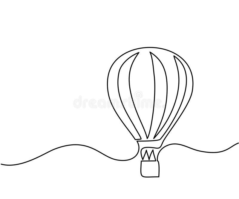Hot air balloon sign. Continuous line drawing icon. Vector illustration stock illustration