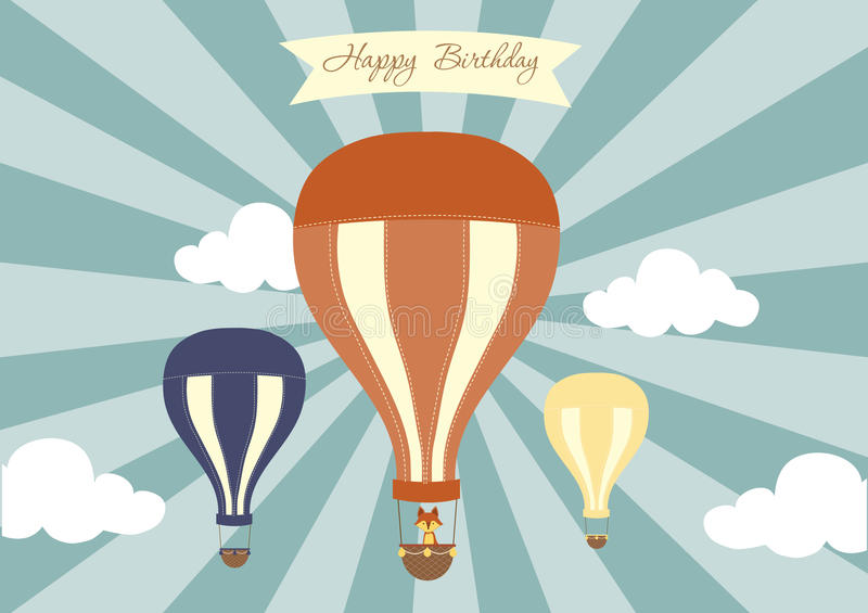 Hot air balloon in the sky with cloud background,invitations cards,birthday cards,Vector illustrations. Hot air balloon in the sky with cloud background stock illustration