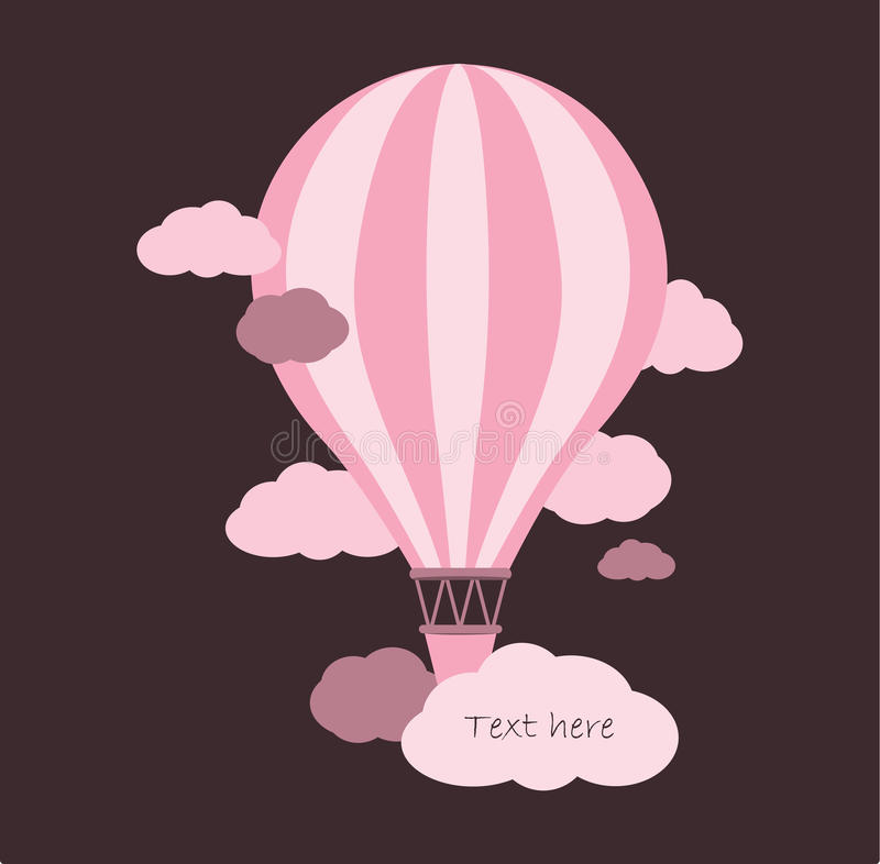 Hot air balloon in the sky royalty free illustration