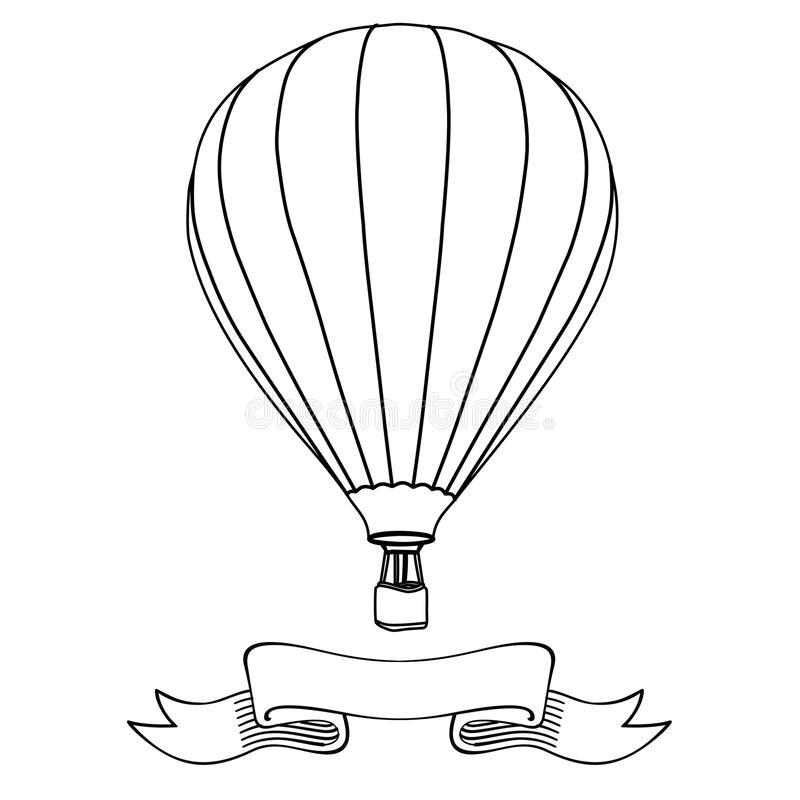 Hot air balloon. In the sky with message on banner illustration.  outline drawings vector illustration