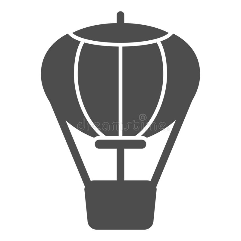 Hot air balloon solid icon. Air transport vector illustration isolated on white. Travel glyph style design, designed for. Web and app. Eps 10 royalty free illustration