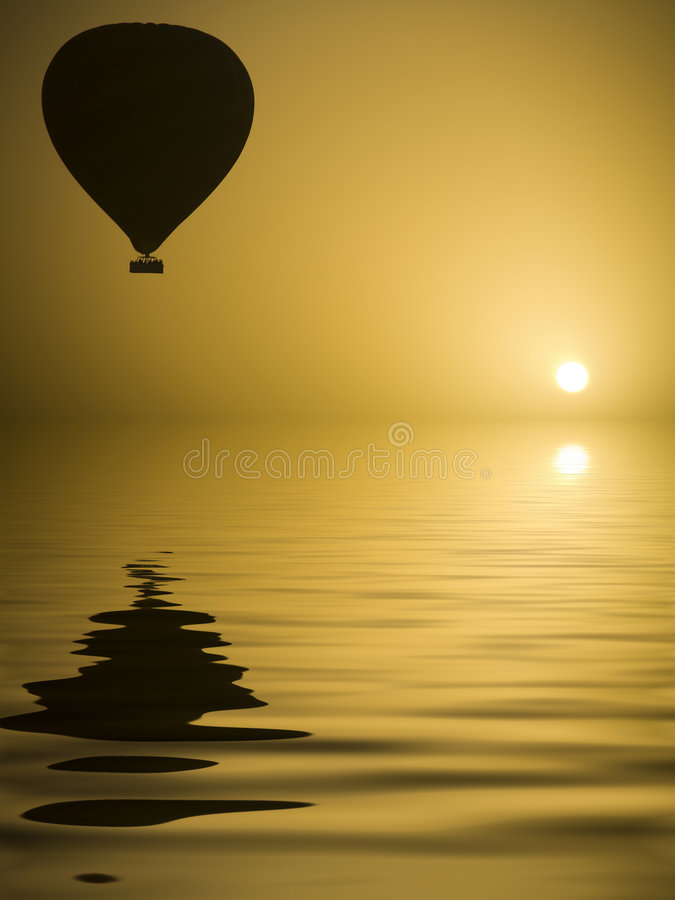 Download Hot Air Balloon And The Sun Stock Image - Image: 3359809