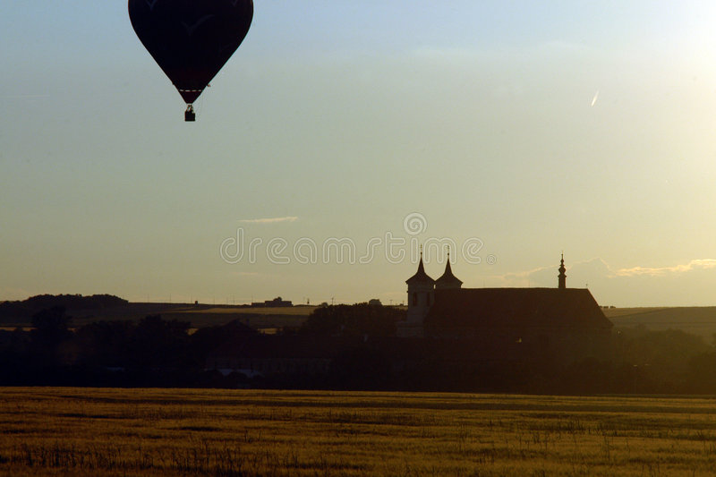 Download Hot air balloon at sunset stock photo. Image of transportation - 1391576