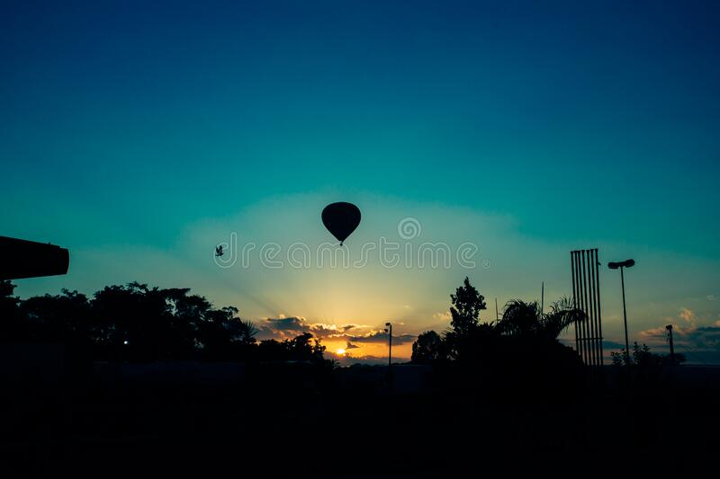 Hot Air Balloon during Sunset royalty free stock images