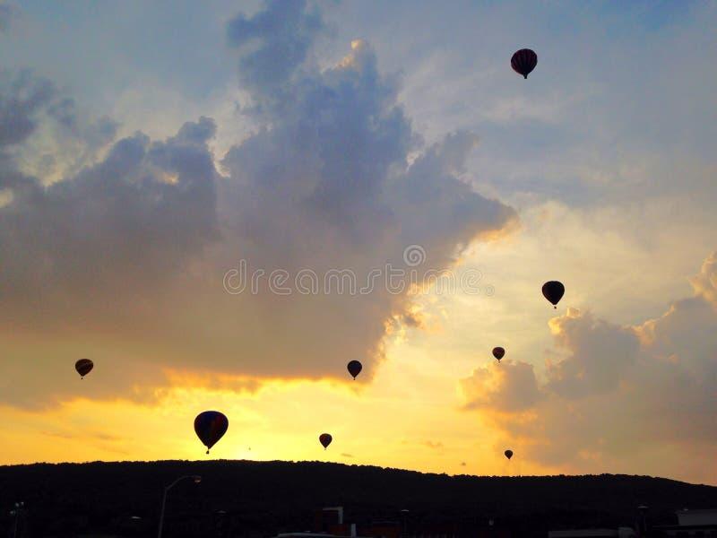 Hot air balloon at sunset stock photos