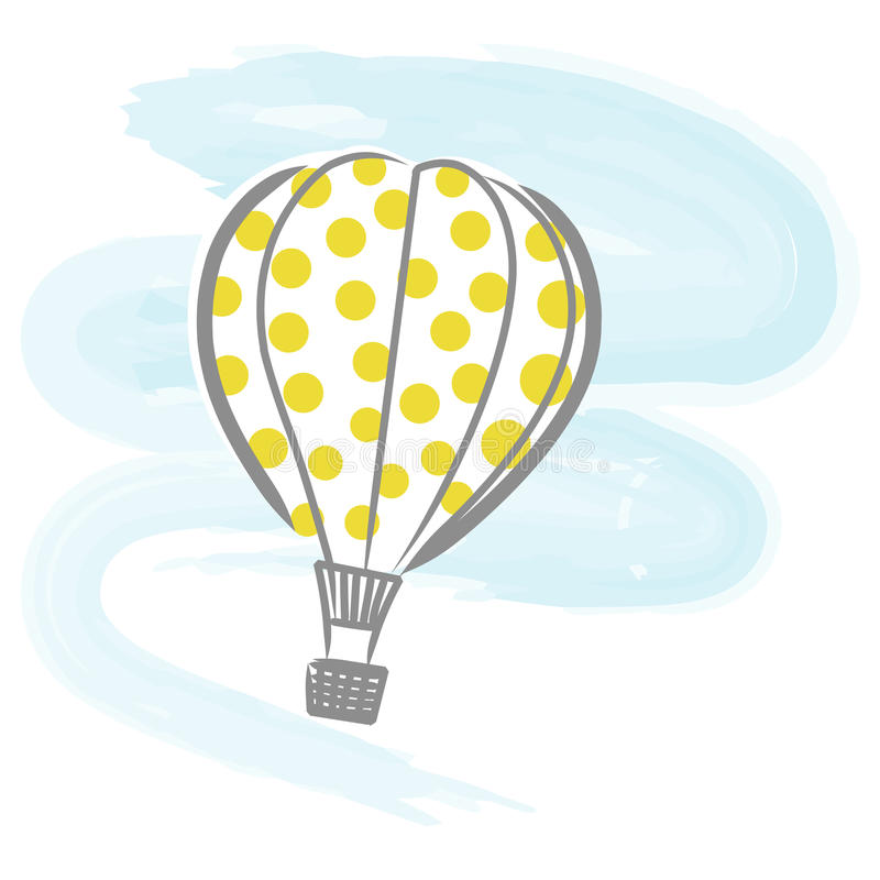 Hot-air balloon vector. Illustration of hot air balloon flying on blue sky + vector eps file royalty free illustration