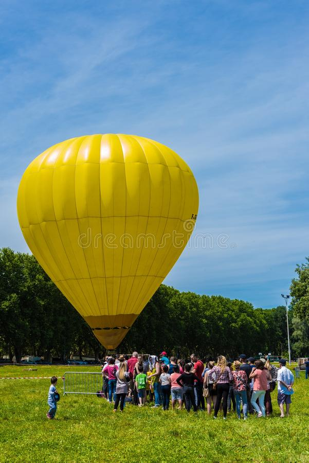 Hot Air Ballooning, Hot Air Balloon, Yellow, Daytime stock image