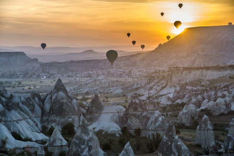 Hot-air ballooning in Cappadocia is super! stock photo