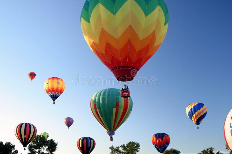 Hot Air Ballooning colors. Skies stock image