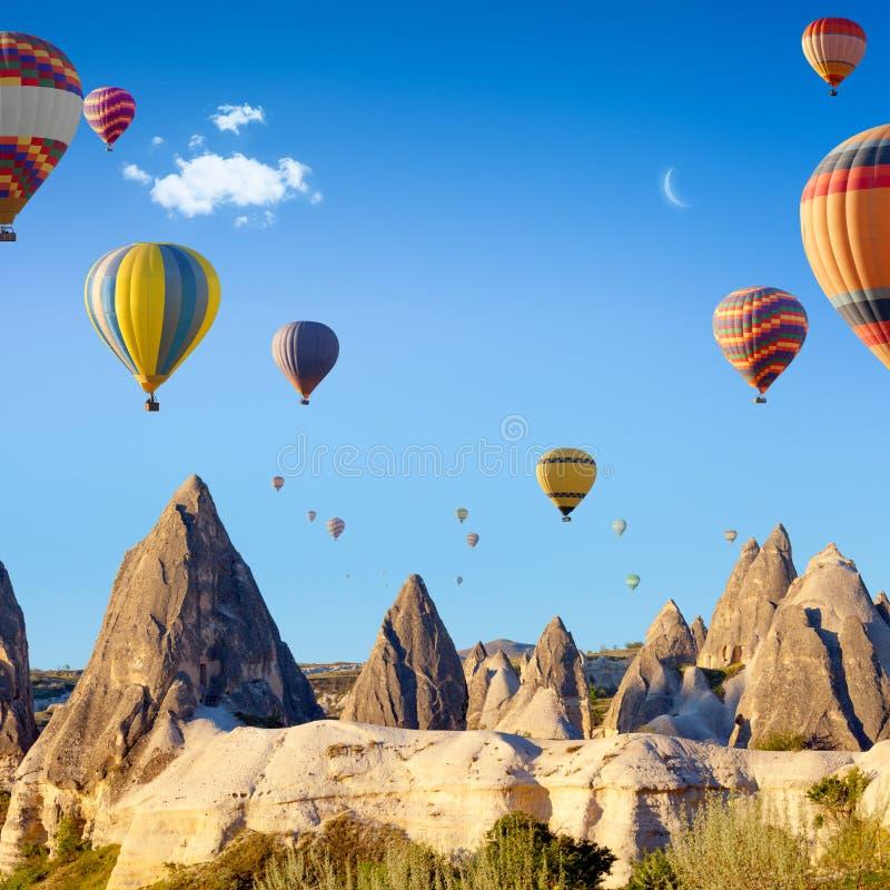 Hot air ballooning near Goreme, Cappadocia, Turkey royalty free stock photo