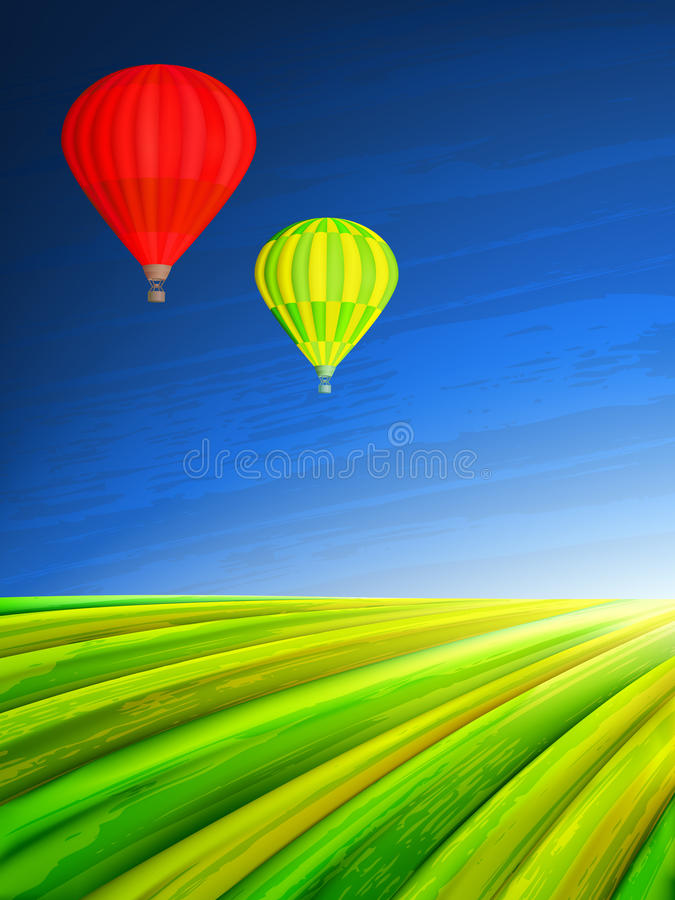 Hot air balloons. Two colorful hot air balloons over a green summer field (other landscapes are in my gallery royalty free illustration