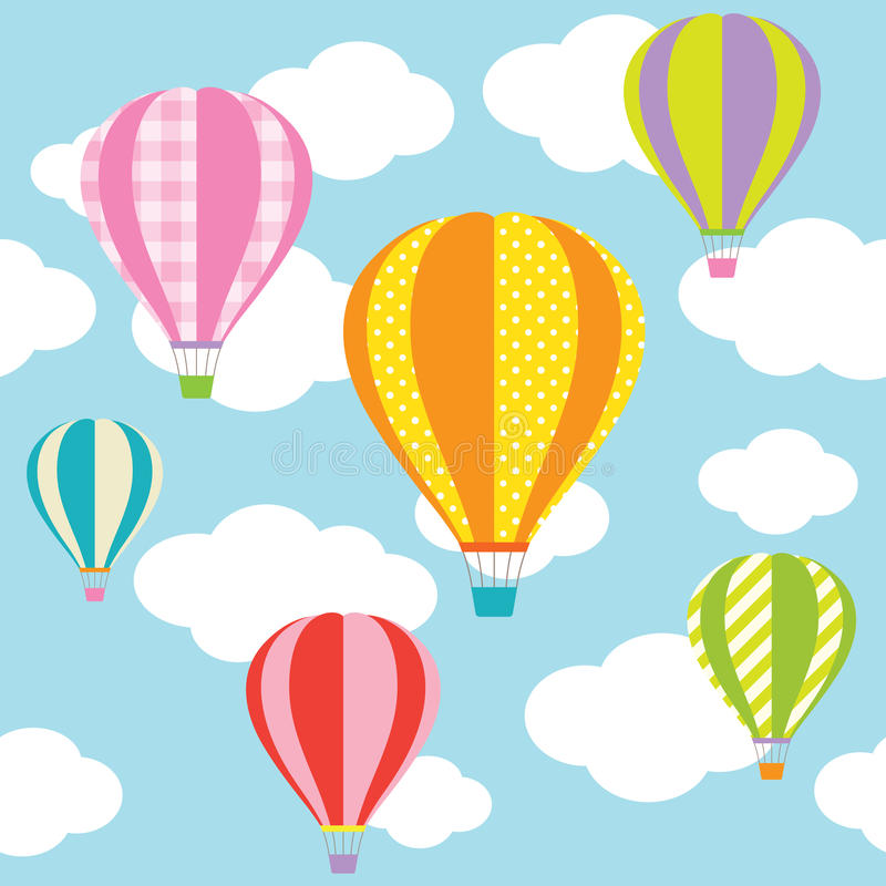 Hot Air Balloons. Illustration of colorful hot air balloons on the blue sky