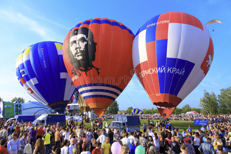 Hot air balloons. Kungur, RUSSIA - July 02, 2011: The Kungur Balloon Fiesta on July 02 2011, in Kungur, Russia. It is one of the the largest free hot air stock image