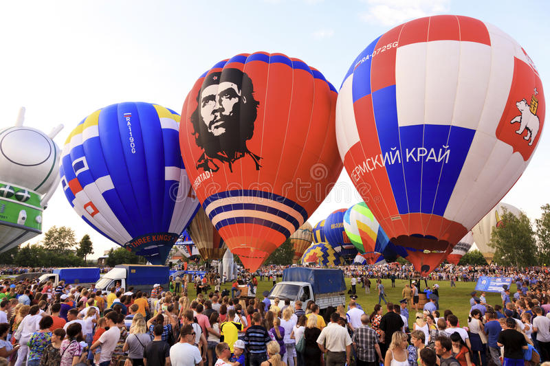 Hot air balloons. Kungur, RUSSIA - July 02, 2011: The Kungur Balloon Fiesta on July 02 2011, in Kungur, Russia. It is one of the the largest free hot air stock photos