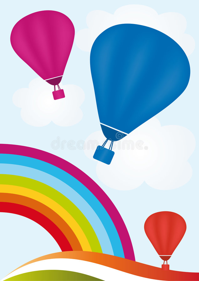 Hot Air Balloons. Sky with rainbow and hot air balloons stock illustration
