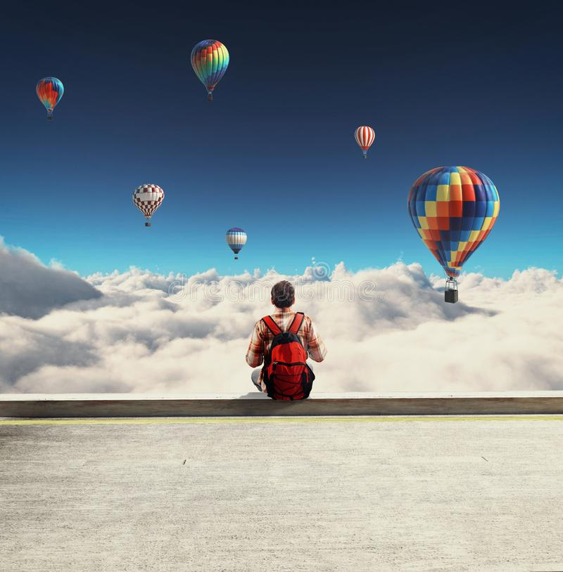 Hot air balloons admire stock image