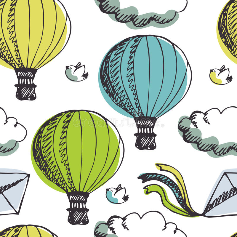 Hot Air Balloons and birds background royalty free illustration