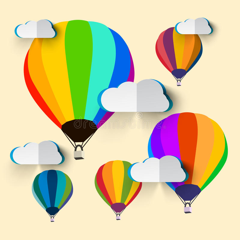 Hot Air Balloons with Clouds. Hot Air Balloons with Paper Clouds stock illustration
