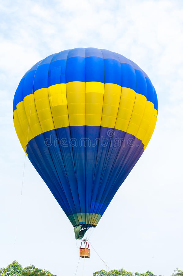 Hot Air Balloons. Colorful Hot Air Balloons in Flight over blue sky. Soft focus stock photography