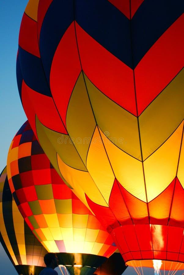 Hot air balloons at dusk stock photos