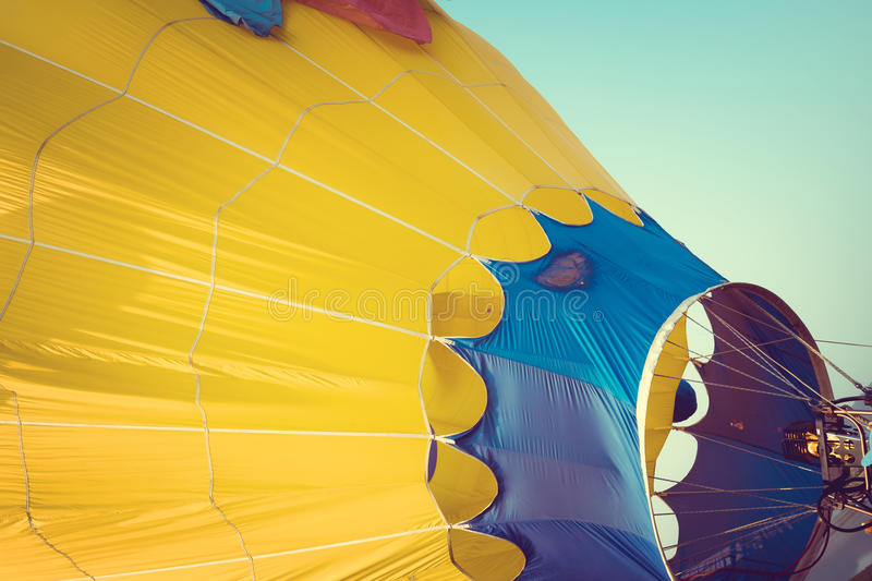 Hot Air Balloons with fire. Close-up of Hot Air Balloons with fire with sky background applying retro and vintage filter effect styles royalty free stock image