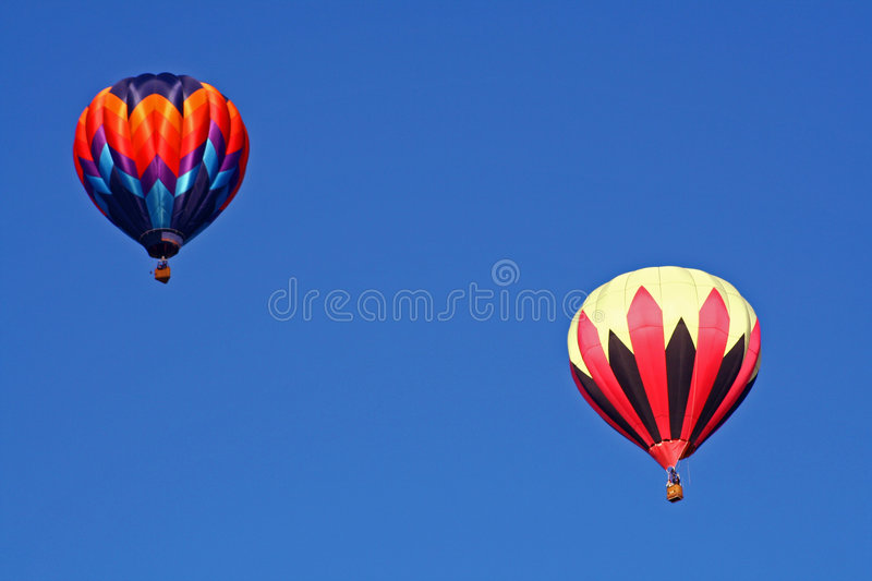 Hot air balloons in flight royalty free stock photo