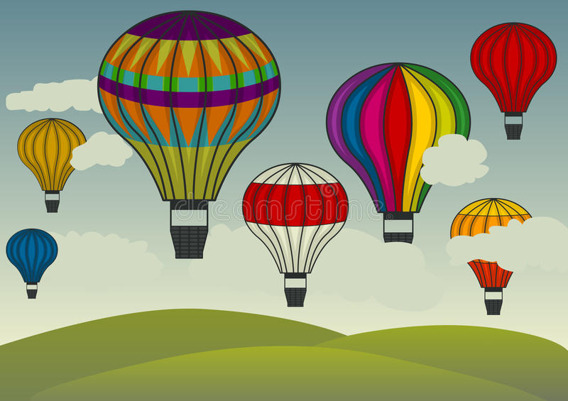Hot air balloons floating. Colorful hot air balloons floating in the sky vector illustration