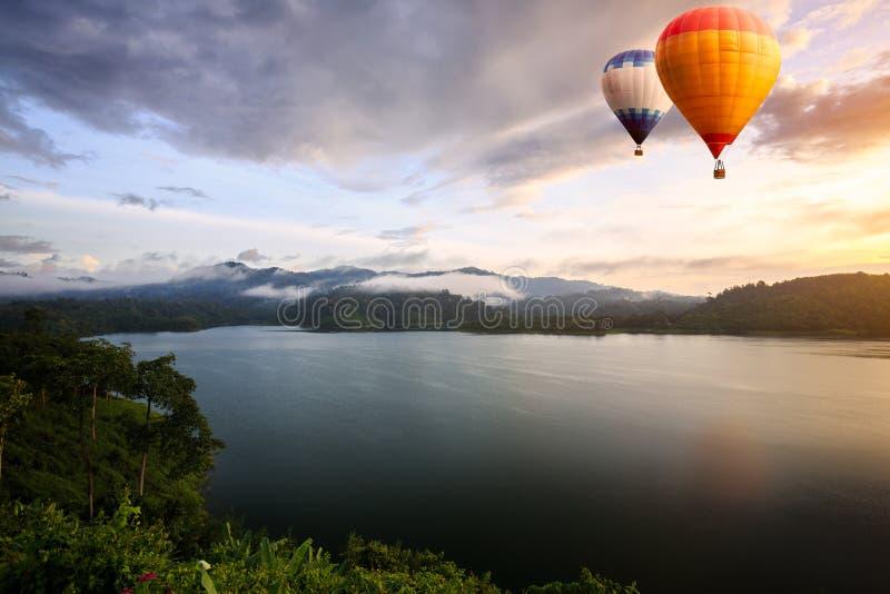 Hot air balloons floating royalty free stock photos