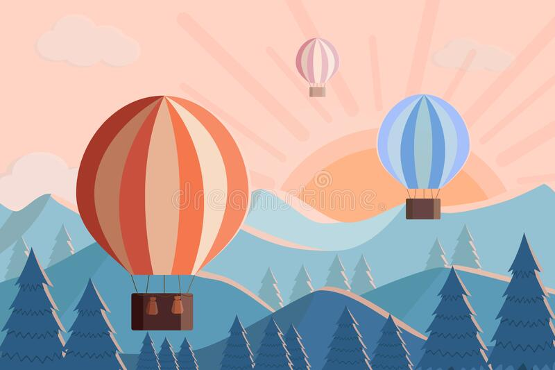 Hot air balloons fly at dawn in the mountains. Vector illustration of mountain Landscape and sunrise sunset.  vector illustration
