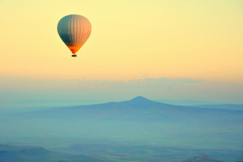Hot air balloons flying royalty free stock photography