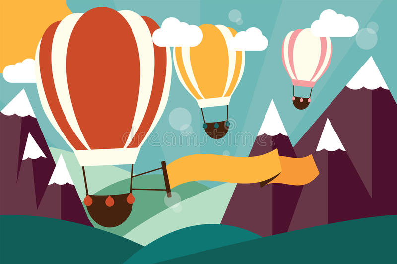 Hot air balloons flying over mountains with banner royalty free illustration