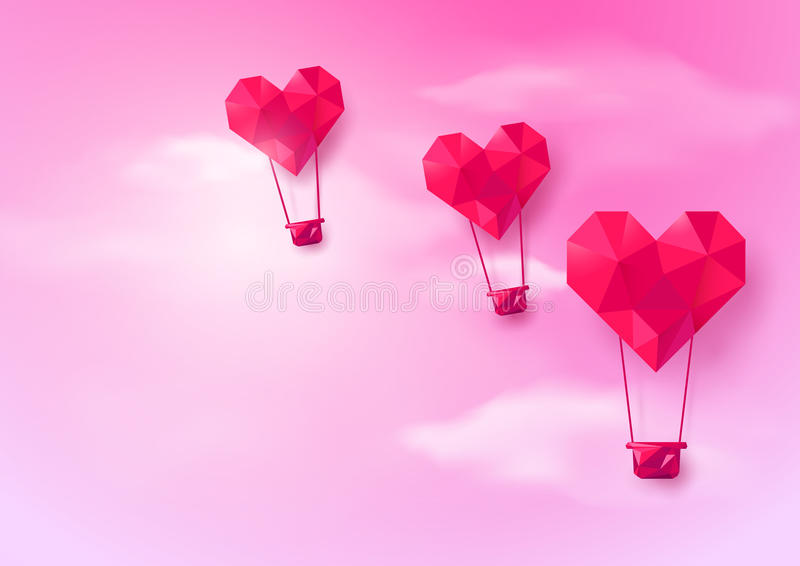 Hot air balloons Heart shaped flying on pink sky background. Low polygonal and origami style design stock illustration