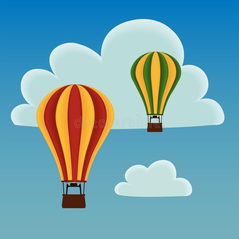 Hot air balloons vector illustration