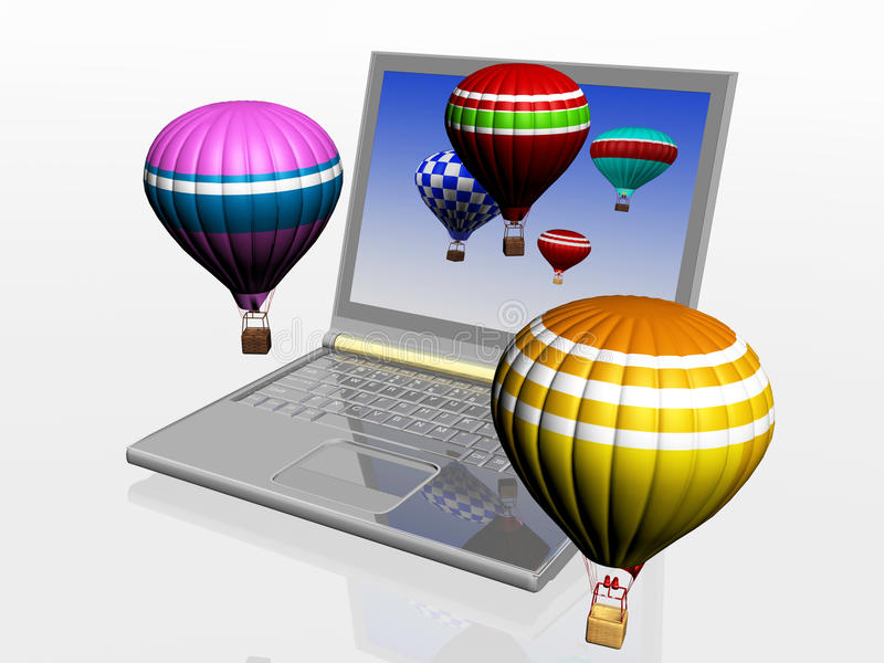 Hot air balloons and laptop vector illustration