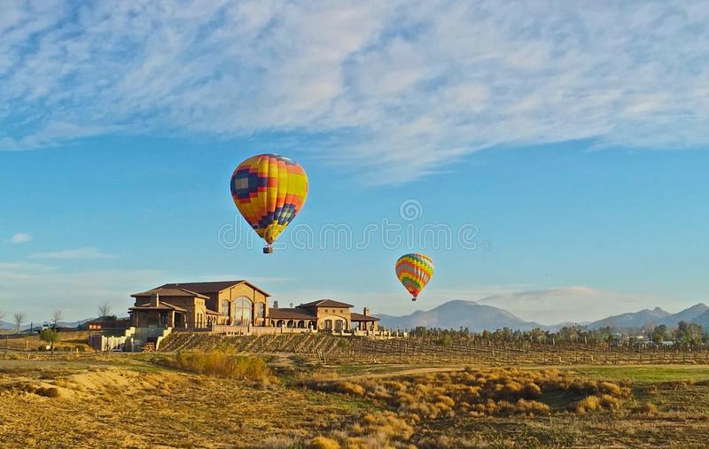 Hot air balloons Monte de Oro winery vineyards stock images
